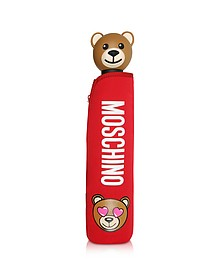 Toy in Love Mini Ombrello Rosso con Custodia in Neoprene - Moschino