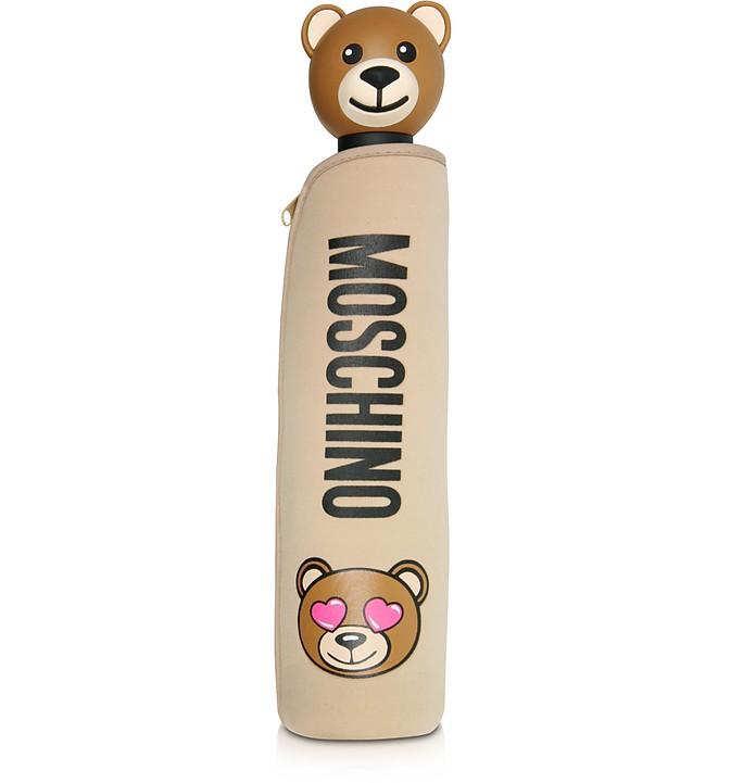 Toy in Love Dark Beige Mini Umbrella w/Teddy Handle and Neoprene Pouch - Moschino