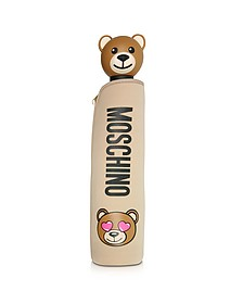 Toy in Love Mini Ombrello Beige con Custodia in Neoprene - Moschino