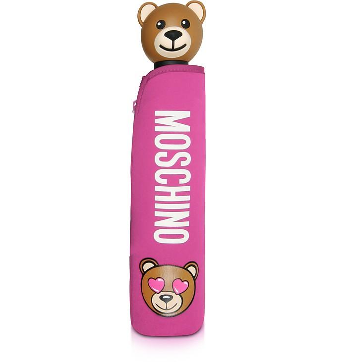 Toy in Love Fuchsia Mini Umbrella w/Teddy Handle and Neoprene Pouch - Moschino