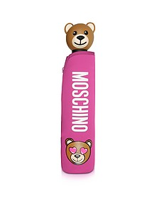 Toy in Love Mini Ombrello Fucsia con Custodia in Neoprene - Moschino
