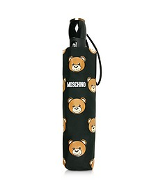 Teddy Heads Mini Ombrello Nero con Logo - Moschino