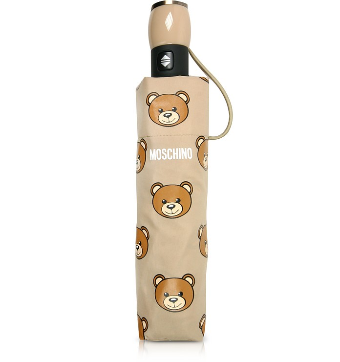 Teddy Heads Dark Beige Mini Umbrella - Moschino