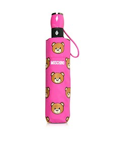 Teddy Heads Mini Ombrello Fucsia con Logo - Moschino