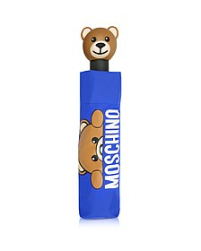 Hidden Teddy Bear - Mini Parapluie en Nylon Bleu Imprimé - Moschino