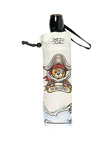 Pirate Bear - Mini Parapluie en Nylon Gris Clair - Moschino
