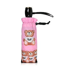 Bears in a Row - Mini Parapluie en Nylon Rose Imprimé - Moschino