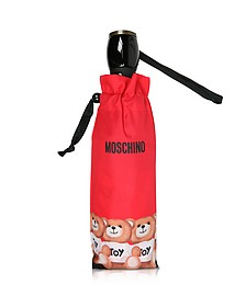 Bears in a Row - Mini Parapluie en Nylon Rouge Imprimé - Moschino