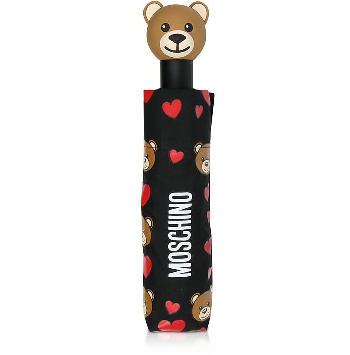 All Over Bear & Hearts Open/Close Umbrella - Moschino