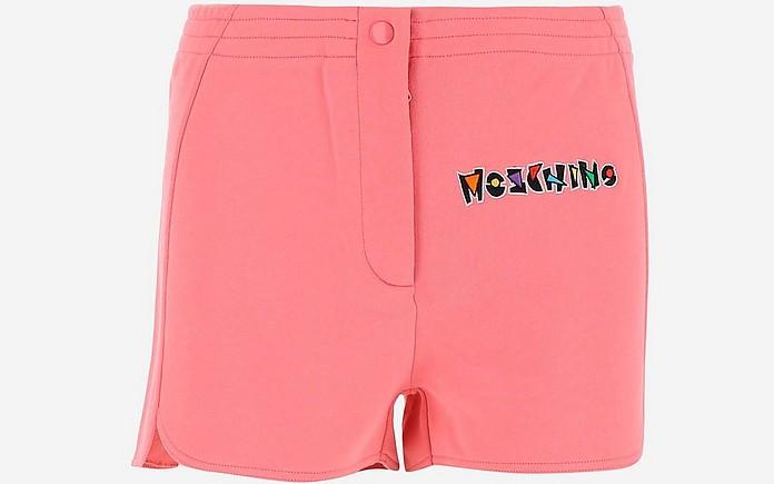 Pink Cotton Fleece Women's Shorts - Moschino