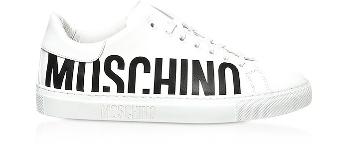 SIgnature White Leather Men's Sneakers - Moschino