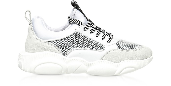 Teddy Run White Mesh and Leather Men's Sneakers - Moschino