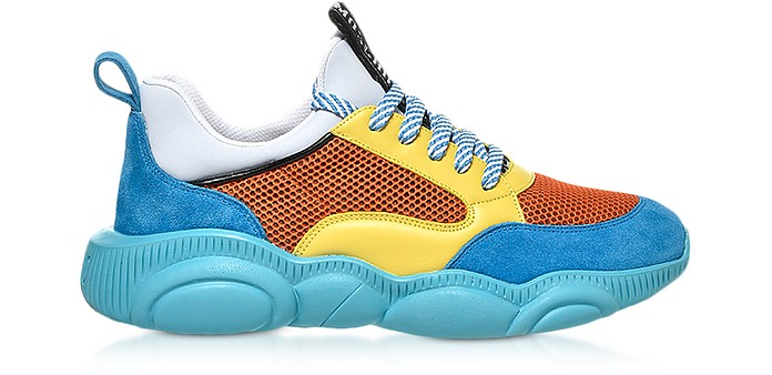 Teddy Run Color-Block Mesh and Leather Men's Sneakers - Moschino