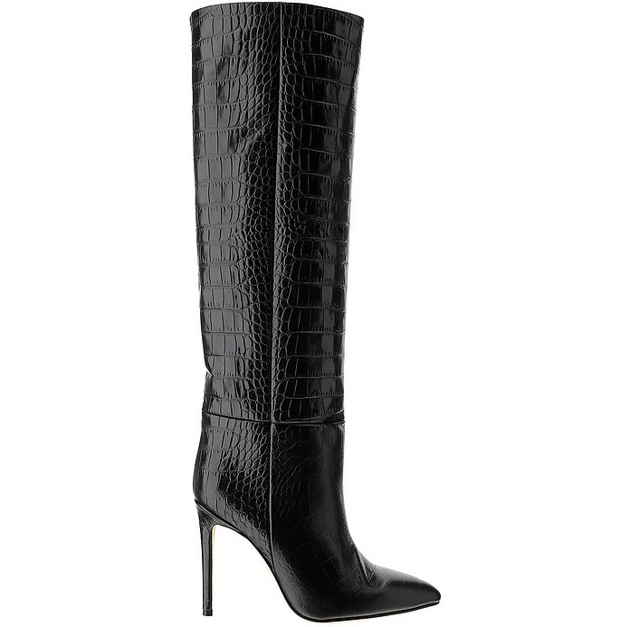 Black Croco Embossed Leather High Heel  Boots - Paris Texas