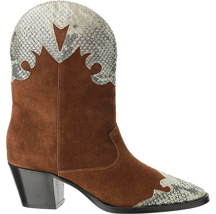 Tobacco Suede and Laminated Python-print Leather Texan Boots - Paris Texas