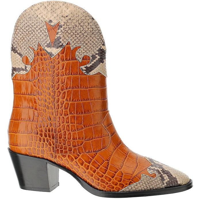 Croco and  and Laminated Python-print Leather Texan Boots - Paris Texas
