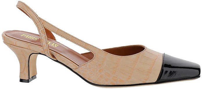 Beige and Blue Croco Embossed Leather Mid-Heel Slingback Sandals - Paris Texas