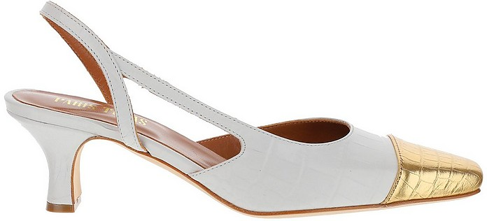 White and Gold Croco Embossed Leather Mid-Heel Slingback Sandals - Paris Texas