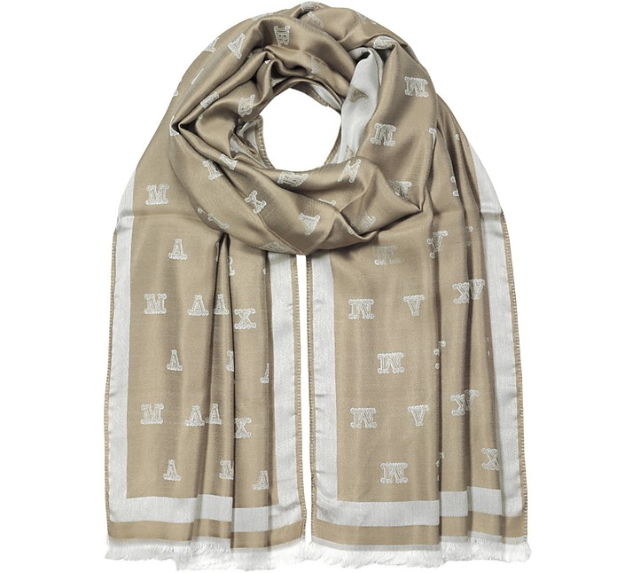 Max Mara Magiaro Maxmaragram Jacquard Viscose And Silk Stole In 天然