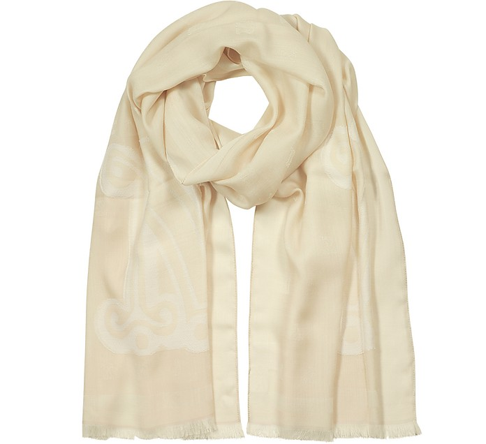 Liuto Maxmaragram Jacquard  Wool and Silk Stole - Max Mara