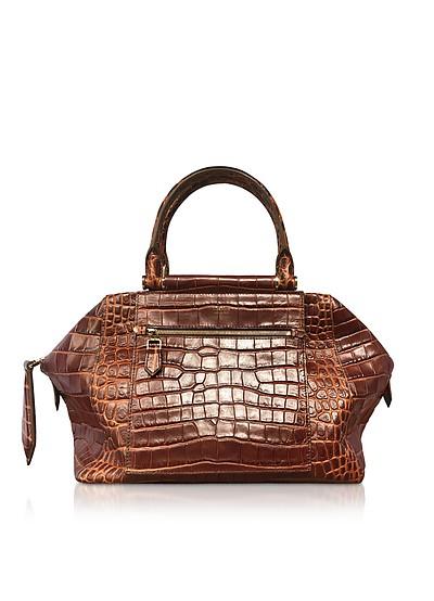Embossed Leather Chest Top Handle Satchel Bag - Max Mara