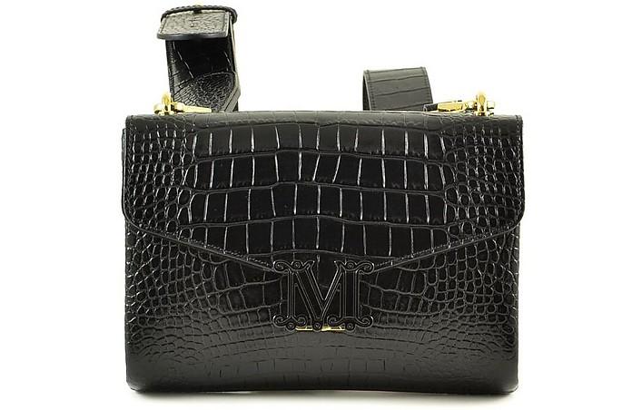 Black Croco Embossed Leather Sholder Bag/Backpack - Max Mara