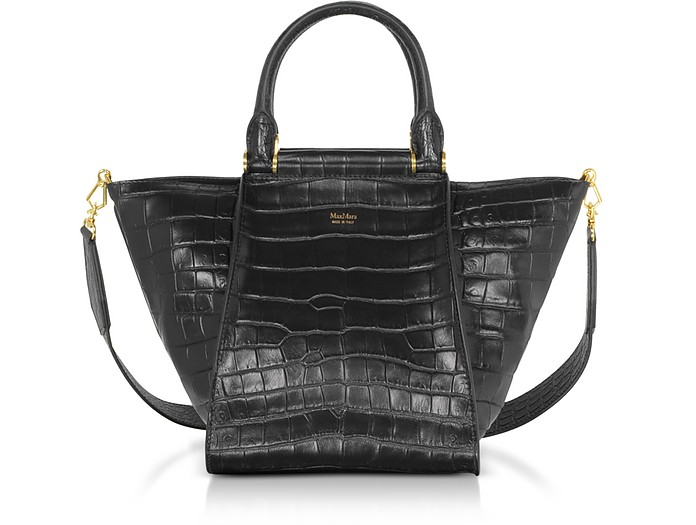 Anita Small Croco Embossed Leather Satchel bag - Max Mara