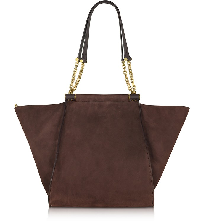 Chain Large Suede Shoulder Bag w/Chain Straps - Max Mara