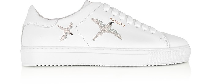Clean 90 Bird White & Silver Leather Women's Sneakers - Axel Arigato