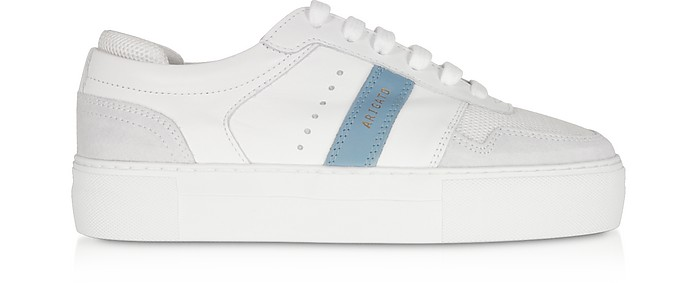 Detailed Platform White Dusty Blue Leather Women's Sneakers - Axel Arigato