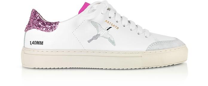 Clean 90 Triple Bird White, Pink Glitter & Fuchsia Leather Women's Sneakers - Axel Arigato