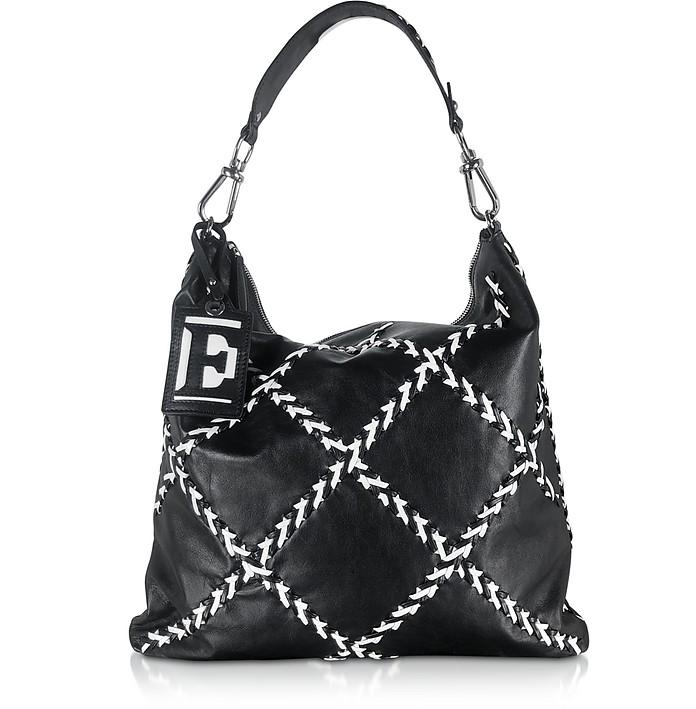 Black Elena Hobo Bag w/White Stitching - Ermanno Scervino