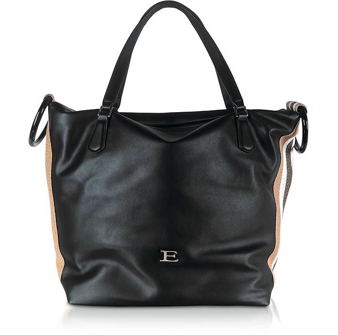 Eleonora Black Leather Medium Tote w/Vertical Stripes - Ermanno Scervino