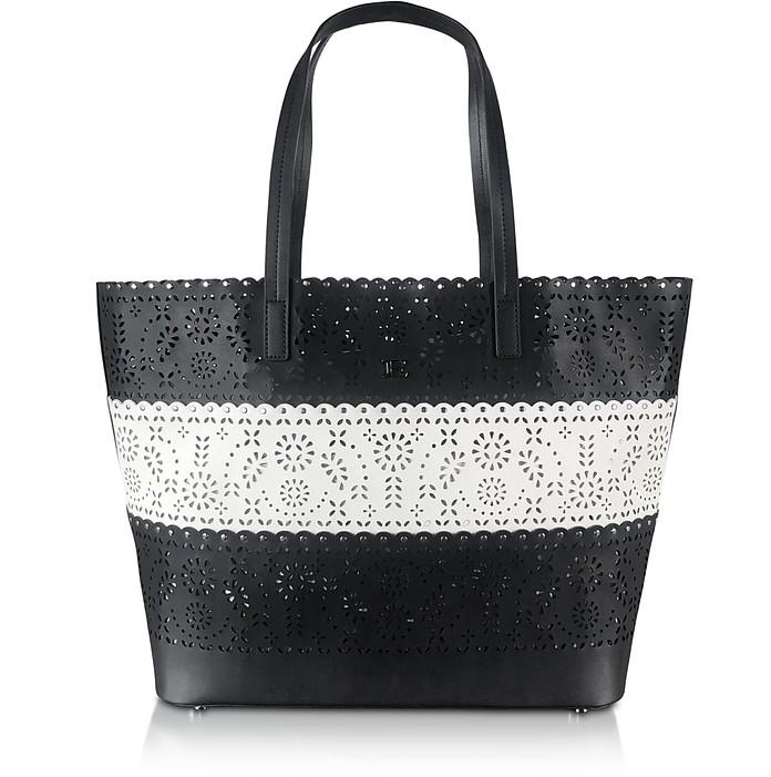 Estella Shopping Bag Black & White Stampa Pizzo - Ermanno Scervino