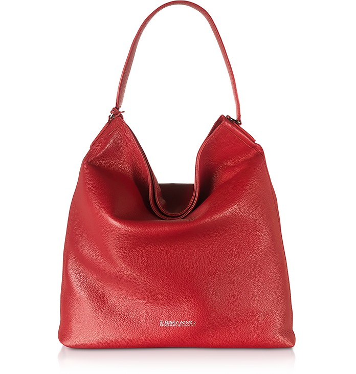 Bright Red Cervo Embossed Leather Emily Hobo Bag - Ermanno Scervino