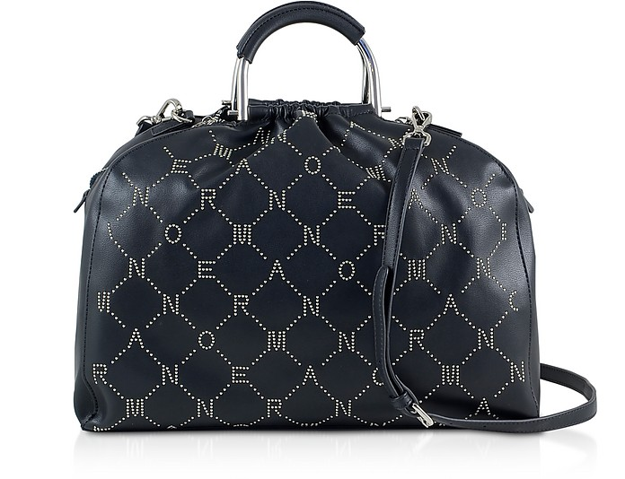 Black Signature Satchel Bag w/Metal Handles & Studs - Ermanno Scervino