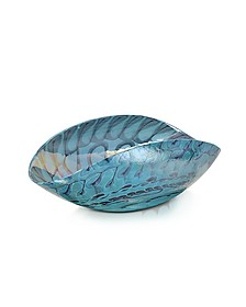Belus - Medium Turquoise Folded Murano Glass Dish - Yalos Murano