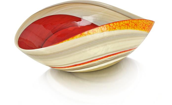 Cartoccio - Mittelgroße Schüssel aus Muranoglas in rot und elfenbein mit Marmoreffekt - Yalos Murano