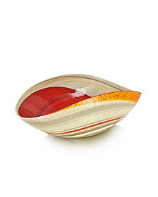 Cartoccio - Medium Red and Ivory Marbled Murano Glass Folded Bowl - Yalos Murano