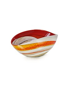 Cartoccio - Small Red and Ivory Marbled Murano Glass Folded Bowl - Yalos Murano