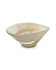 Tango - Ivory and Mother of Pearl Swirl Murano Glass Bowl - Yalos Murano