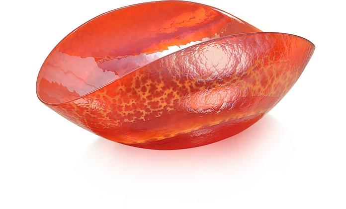 Tango - Orange Swirl Murano Glass Folded Dish - Yalos Murano