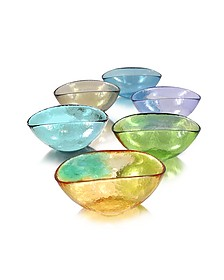 Happy Fruit - 6 Colored Murano Glass Bowls - Yalos Murano
