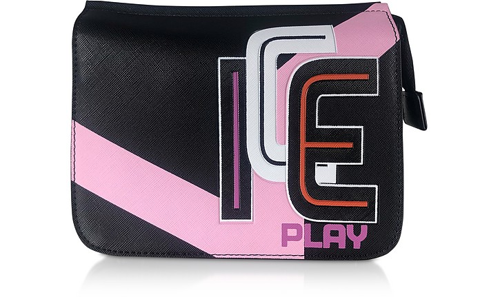 Camera Bag in Eco Pelle Soffiano Color Block con Logo - Ice Play