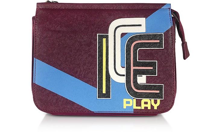 Camera Bag in Eco Pelle Soffiano Color Block con Logo - Ice Play