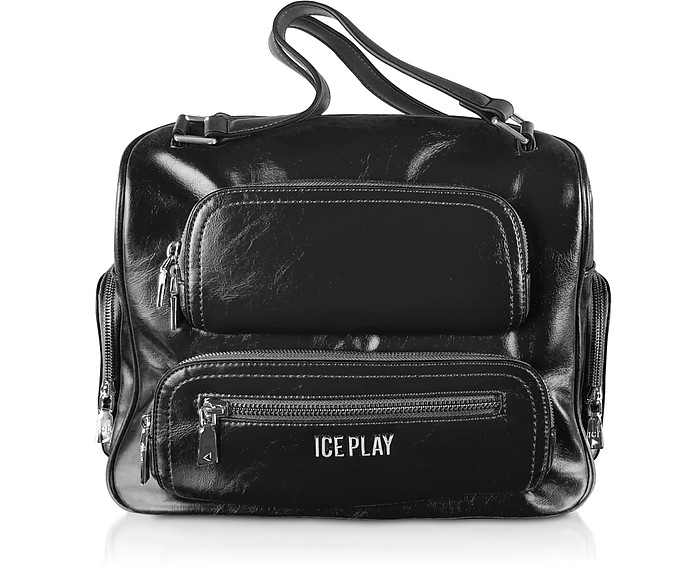 Signature Top-Handles Satchel Bag w/Zip Pockets - Ice Play