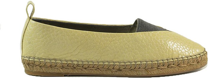 Beige Hammered Leather Espadrilles - Brunello Cucinelli