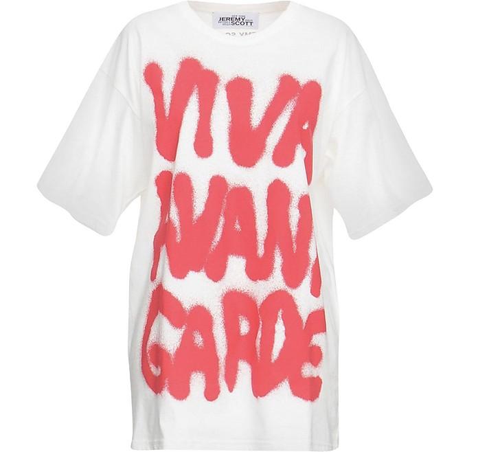 Graffiti Print White Cotton Women's T-Shirt - Jeremy Scott