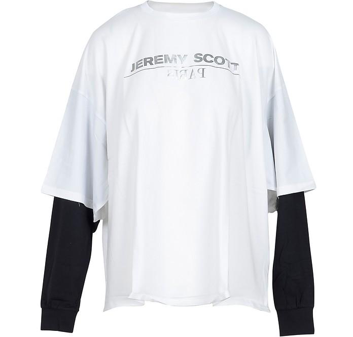 White Cotton Women's T-Shirt w/LS Sleeve - Jeremy Scott