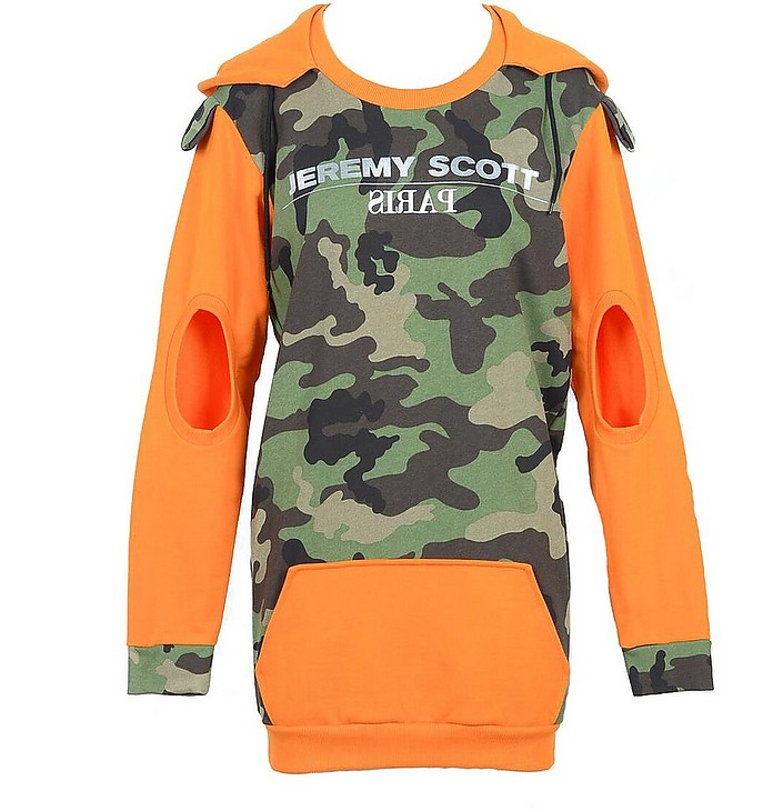 Camouflage and Orange Cotton Women's Sweater - Jeremy Scott